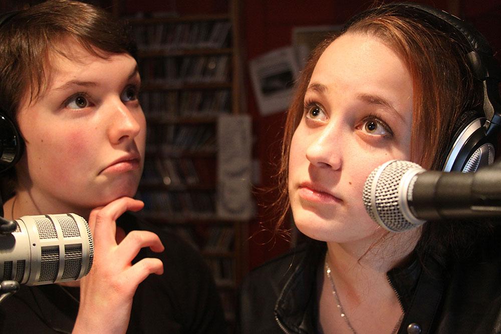 Essex High School students Dana Balkin and Saraphina Redalieu host a radio program on 105.9FM The Radiator, Big Heavy World's community radio station.