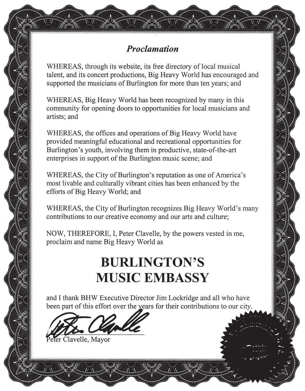 Burlington's Music Embassy