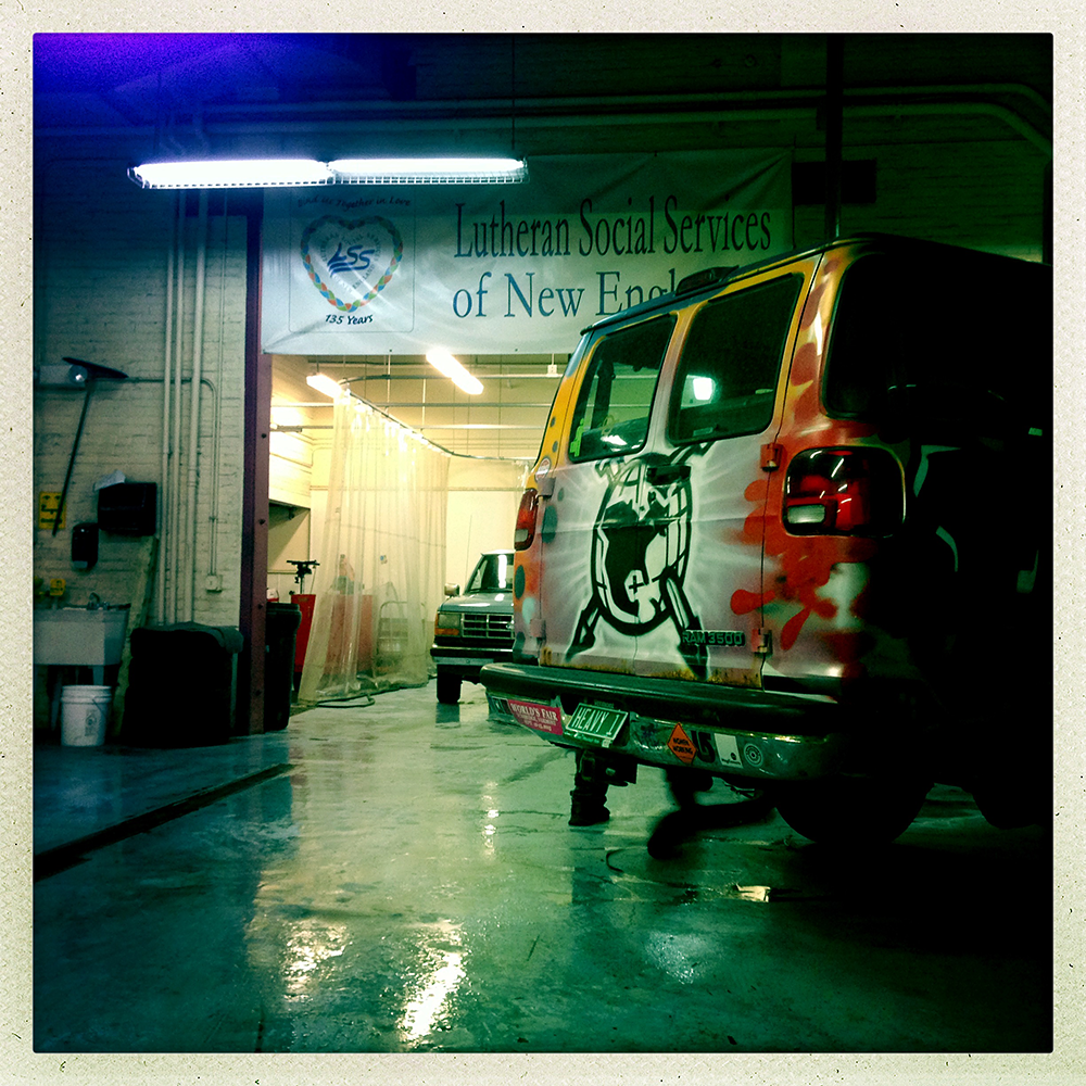 Van at Good News Garage.