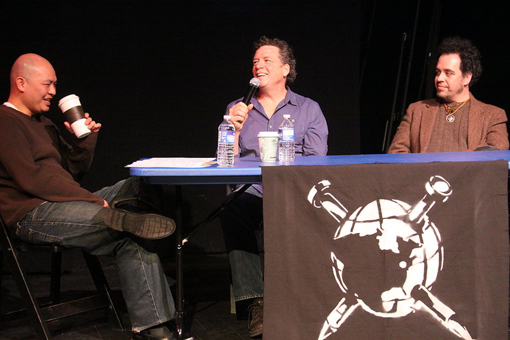 Panel moderator Steve Hartmann with Patrick Fitzsimmons and Joe Adler. Photo by James Lockridge.