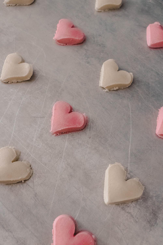 grey pink hearts