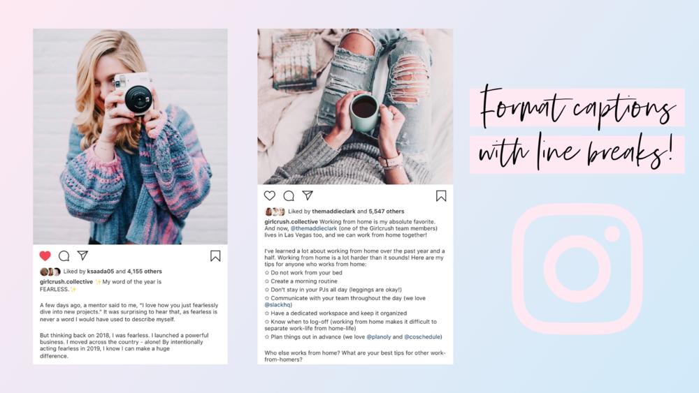 format instagram captions with line breaks