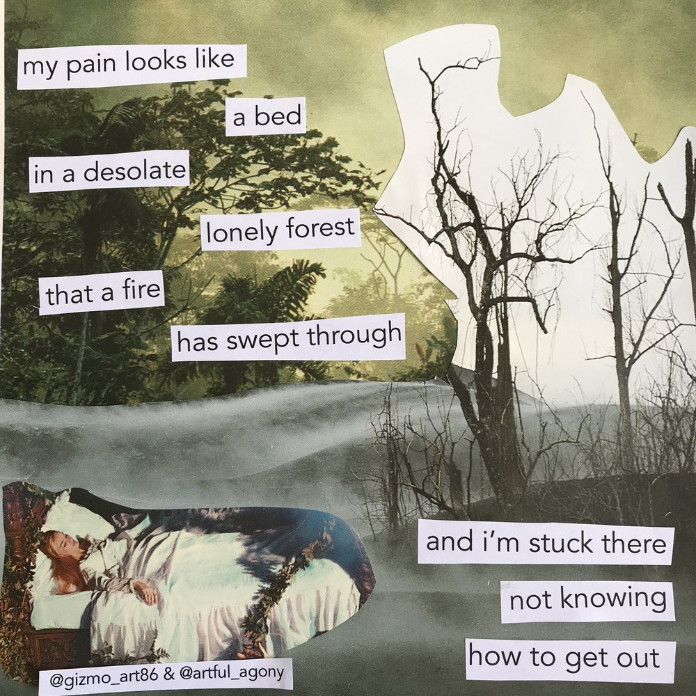 BED  'My pain looks like a bed in a desolate lonely forest that a fire has swept through and I'm stuck there not knowing how to get out.'  submitted by @gizmo_art86