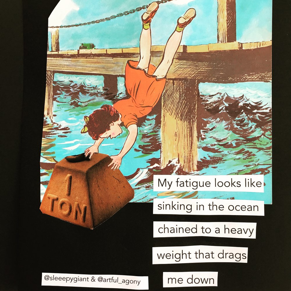 HEAVYWEIGHT  'My fatigue looks like sinking in the ocean chained to a heavy weight that drags me down.'  submitted by @sleeepygiant