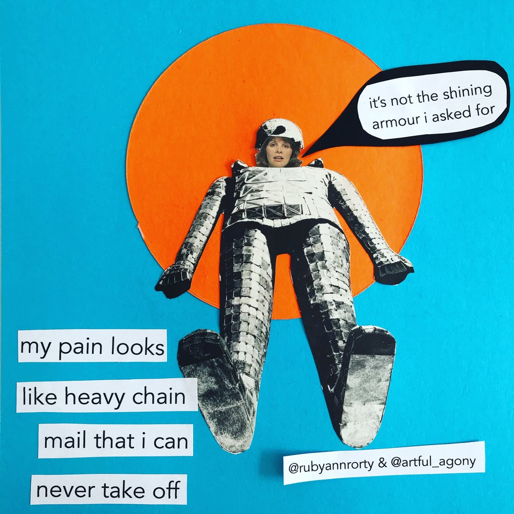 CHAINMAIL  'My pain looks like heavy chain mail that I can never take off.'  submitted by @rubyannrorty