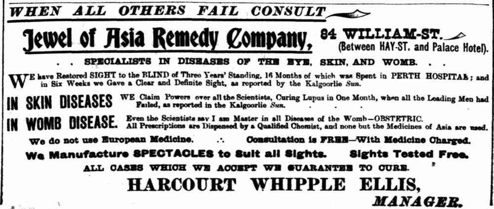 Harcourt Whipple Ellis' ad 'Jewel of Asia Remedy Company' in The Sunday Times, 28 September 1902.