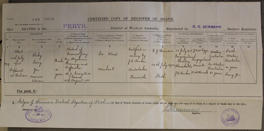Ruby Yen's death certificate dated 17 September 1925. Courtesy State Records Office WA.