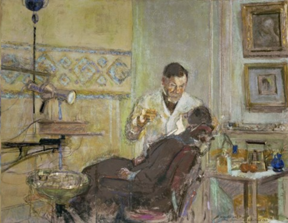 Dr Georges Viau in his Dental Office, Attending Annette Roussel, 1914 by Edouard Vuillard.