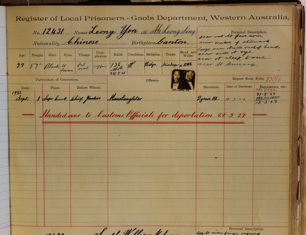 Entry in Gaols Department Register of Local Prisoners for Leong Yen. Courtesy of State Records Office WA.