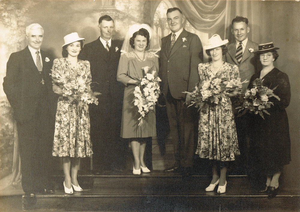 Wedding of May Hennessy and Leonard Jackson (to the right of bride), 1941. Courtesy the Hennessy family.