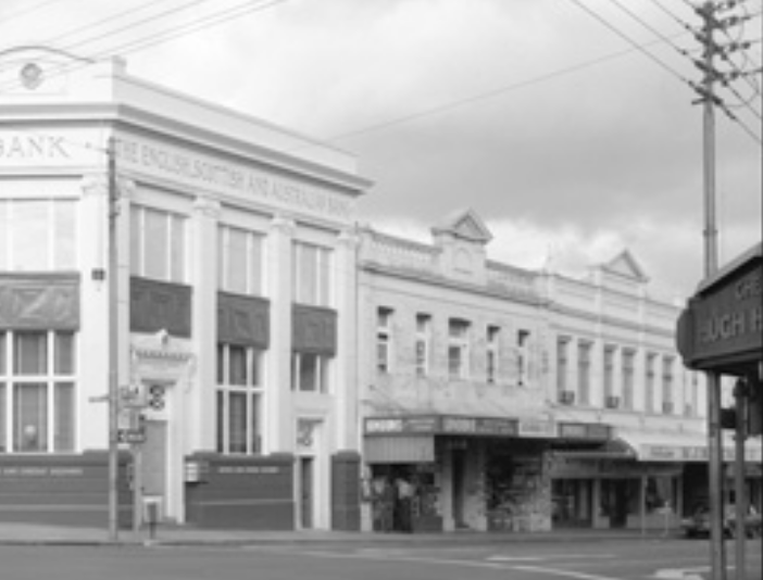 Alexandra Hostel (centre) on Hay Street, two doors down from the corner of Milligan. Courtesy State Library of Western Australia (280019PD).