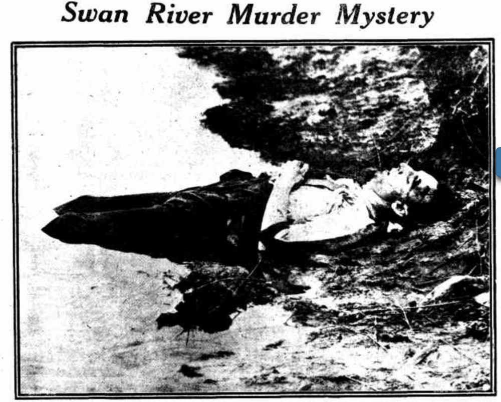 The body of John George O'Neill on the river bank at Crawley. Front page of The Sunday Times, 6 April 1924.