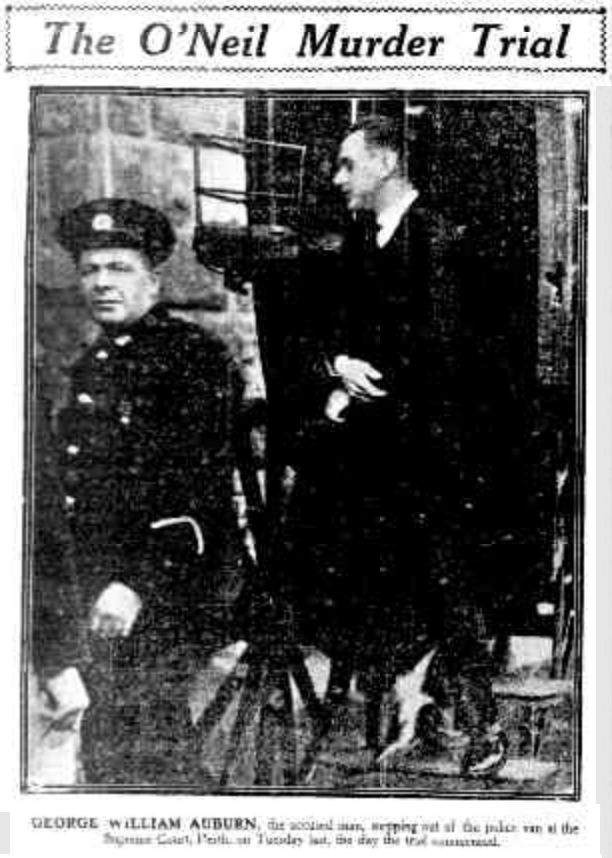 George William Auburn, the accused, stepping out of the police van at the start of the trial. The Sunday Times, 15 June 1924.