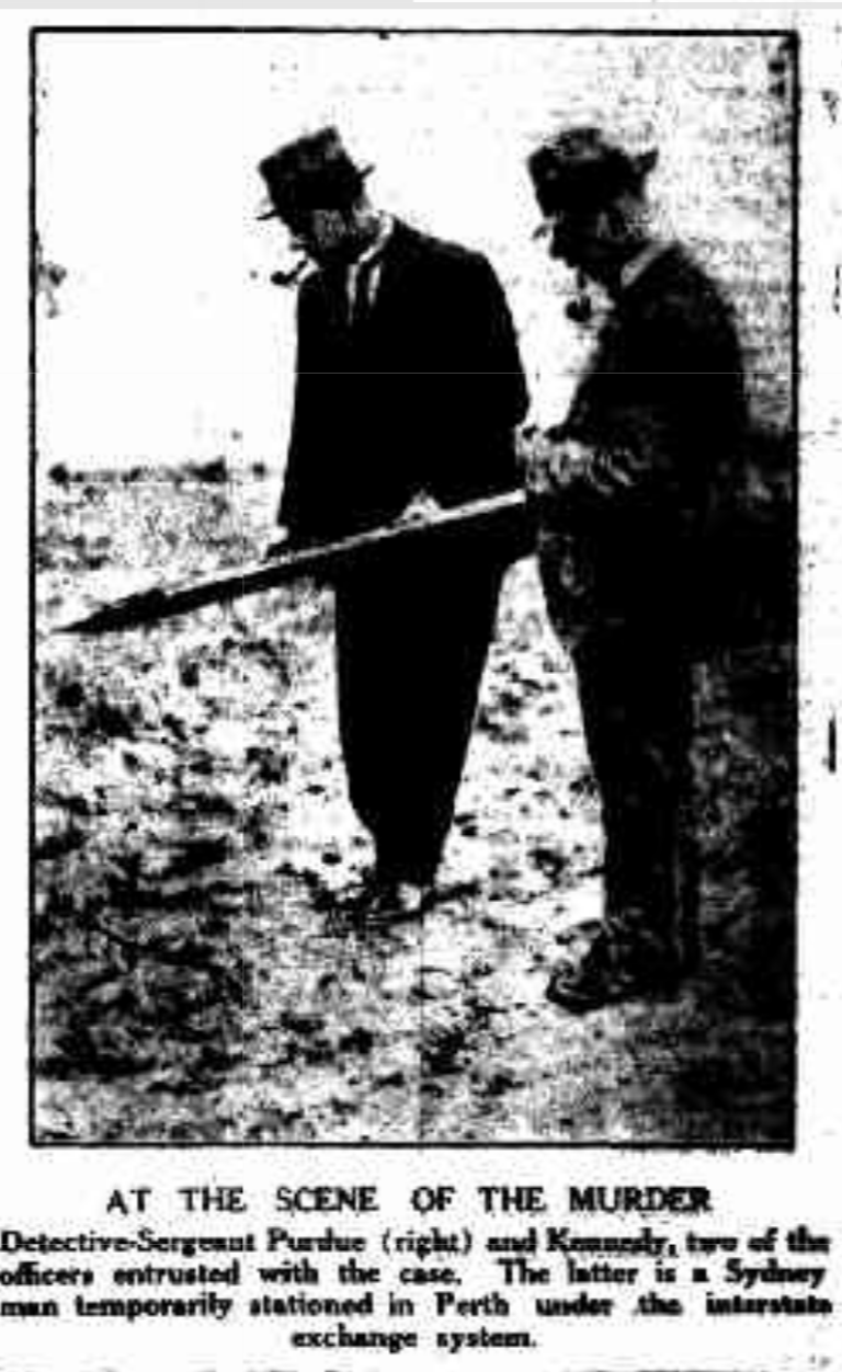 Detective Sergeants Purdue (right) and Kennedy at the crime scene. Mirror, April 12 1924.