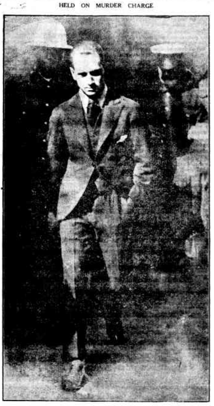George Auburn leaving court on the charge of murder. Front page of the Mirror, 19 April 1924.