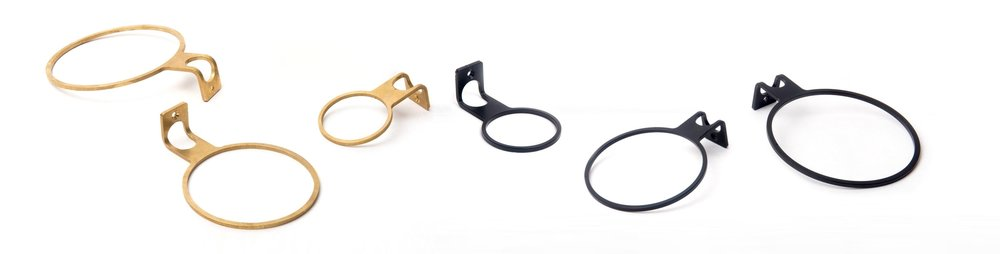 All our Planty Rings in one picture from left to right: Brass L, M, S and black S, M, L
