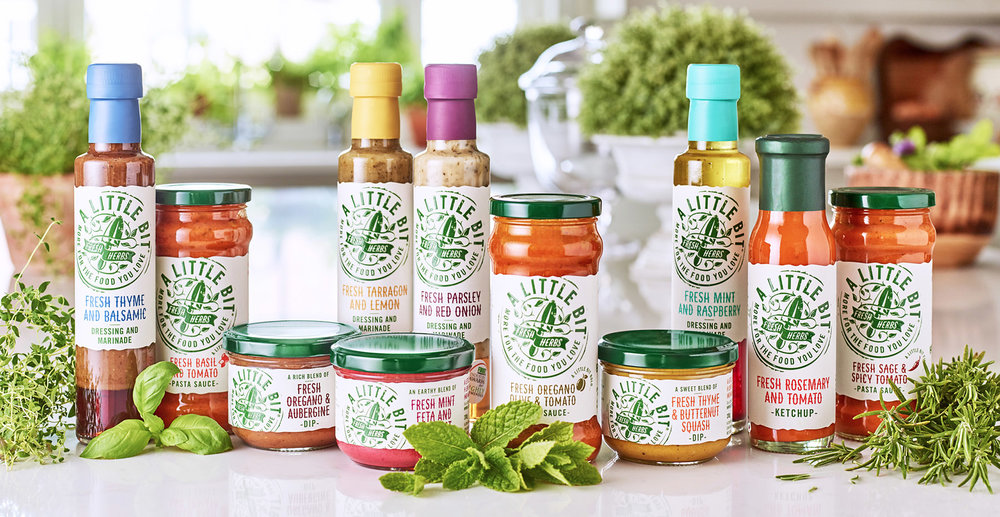 A Little Bit Sauces and Dressings Branding and Packaging Design - Full Range Shot