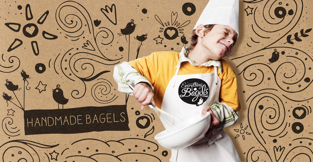 Food packaging design and brand identity for artisanal food brand Everything Bagels by Design Happy London - Poster design
