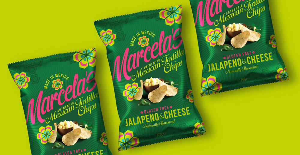 Food packaging design and brand identity for mexican food brand Marcela by Design Happy London - Foil crisp packaging design