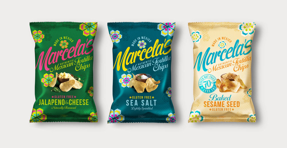 Food packaging design and brand identity for mexican food brand Marcela by Design Happy London - Range of bag designs for marcela tortillas chips