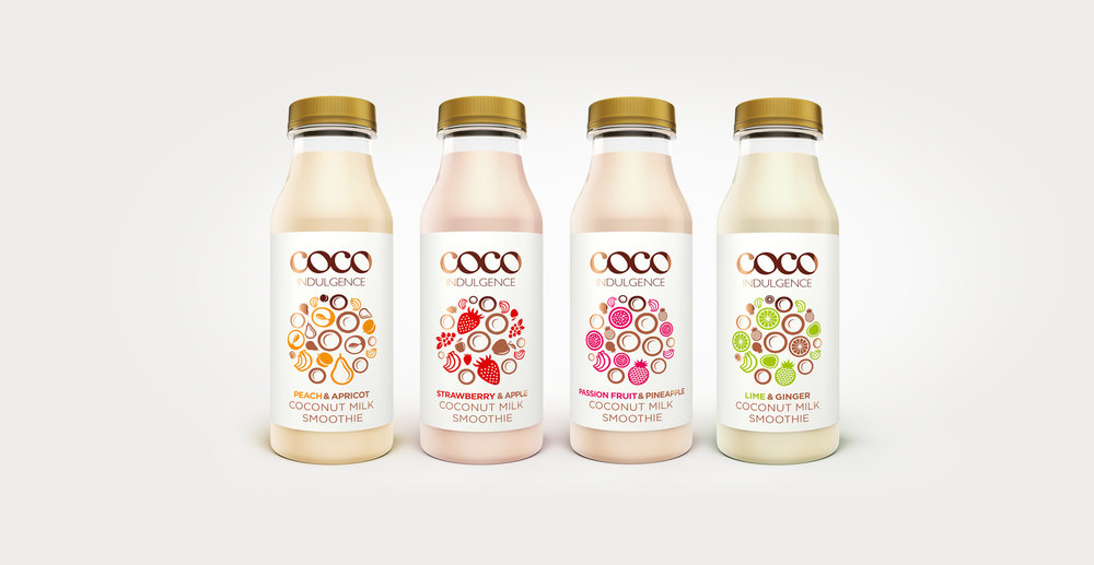 Luxury packaging design and branding for drinks brand Coco Indulgence by Design Happy London - The range of label designs