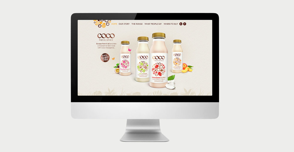 Luxury packaging design and branding for drinks brand Coco Indulgence by Design Happy London - Website design