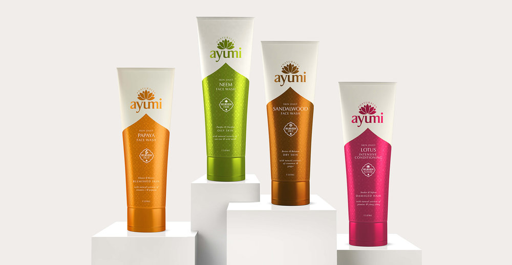 Health and Beauty Branding and Packaging Design for Beauty Brand Ayumi - 3D Range Shot