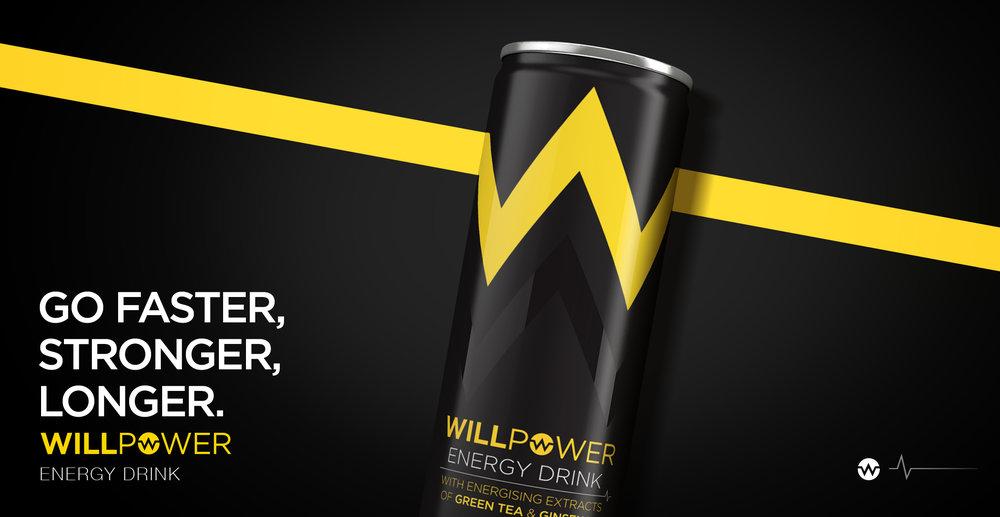 Branding and Packaging Design for Energy Drink Brand Willpower
