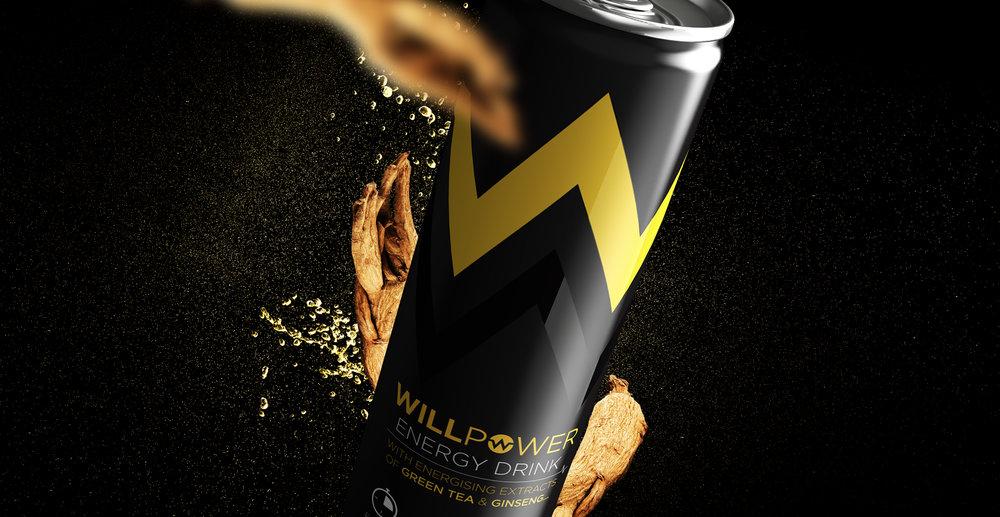 Branding and Packaging Design for Energy Drink Brand Willpower - Poster Design