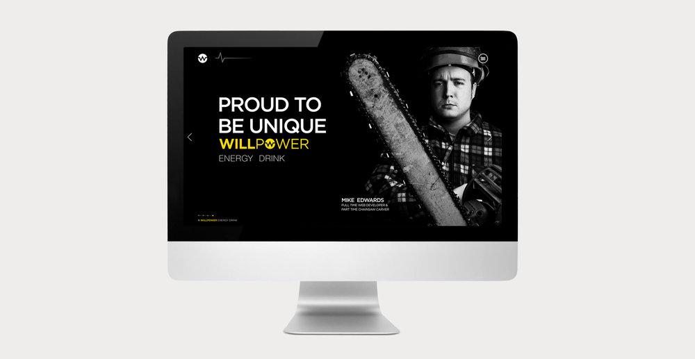 Branding and Packaging Design for Energy Drink Brand Willpower - Website