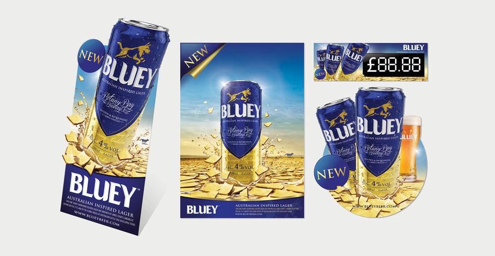Brand Creation and Packaging Design for Australian Beer Brand Bluey Lager - Point of Sale Design