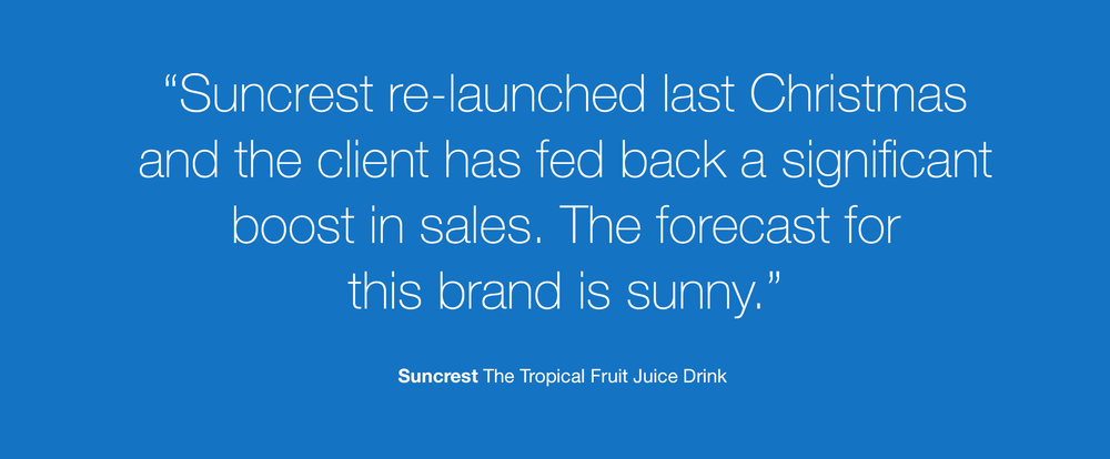 Redesign of well known beverage brand Suncrest - Client Testimonial