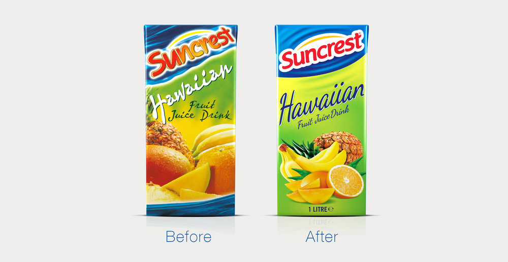 Redesign of well known beverage brand Suncrest - Before and After
