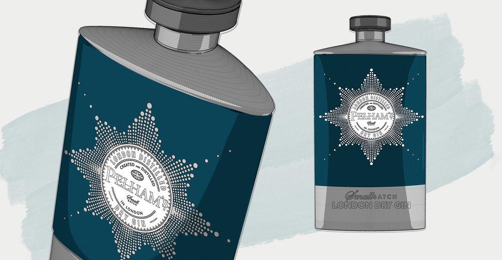 Branding and Packaging Design for Premium Gin Brand Pelham's - Design Concept