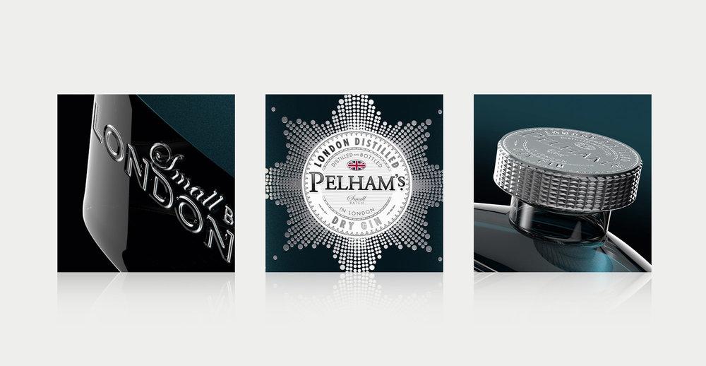 Branding and Packaging Design for Premium Gin Brand Pelham's - Design Details