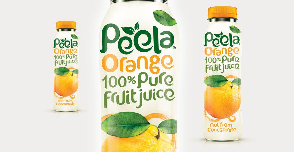 Drinks packaging design and new branding for natural juice brand Peela - Packaging Render