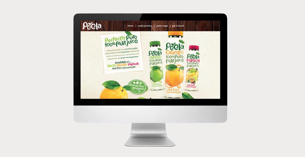 Drinks packaging design and new branding for natural juice brand Peela - Website Design