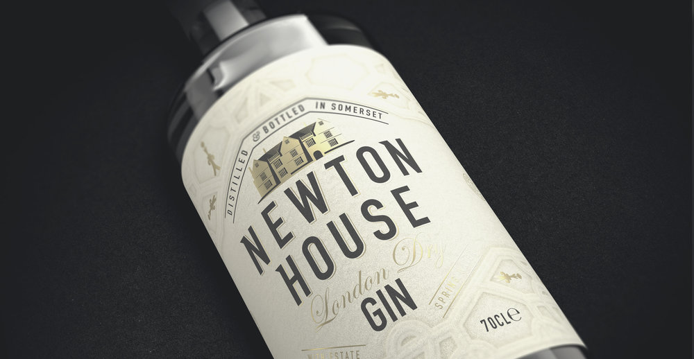 Newton House Gin Branding and Packaging Design bottle lying down