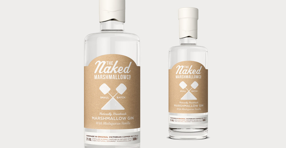 Naked Marshmallow Co. Gin Label Design