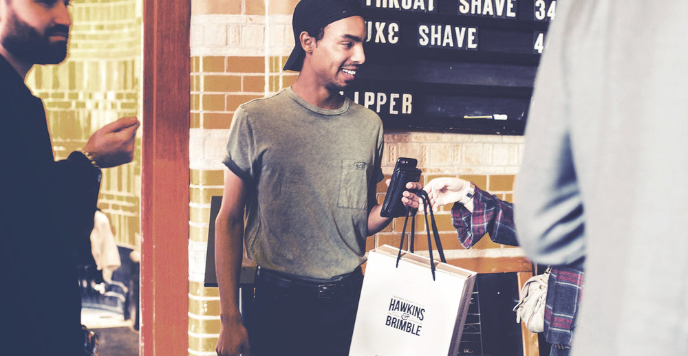 Launching a male grooming brand - Hawkins & Brimble launch party gift bags, Cut Throat Amsterdam