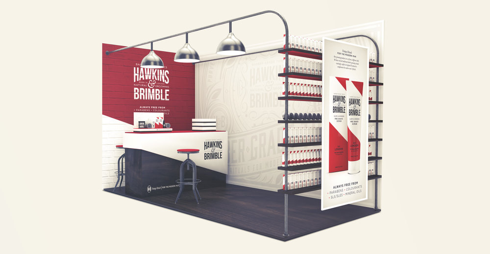 Launching a male grooming brand - Trade stand design