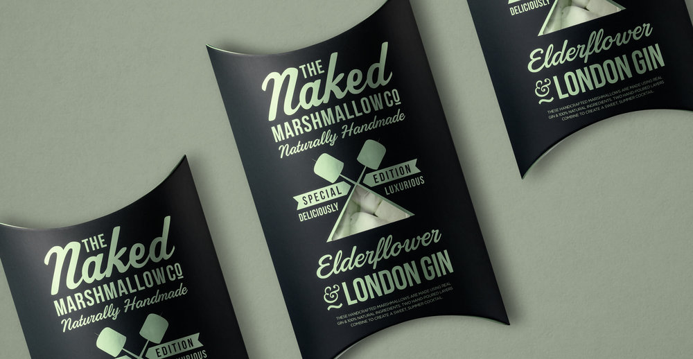 Branding and packaging design for confectionary brand The Naked Marshmallow Co by Design Happy London - Elderflower & London Gin