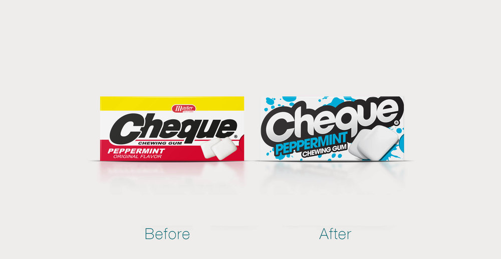 Cheque Gum branding and packaging design before and after