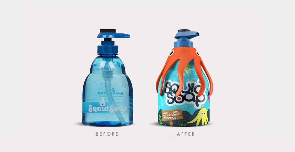 Toiletries packaging design and branding for children's bath product Squid Soap - Before and After