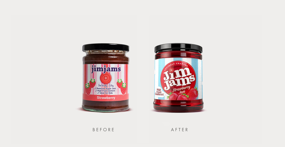 Food packaging design and brand identity for reduced sugar brand JimJams by Design Happy London - Before and after designs