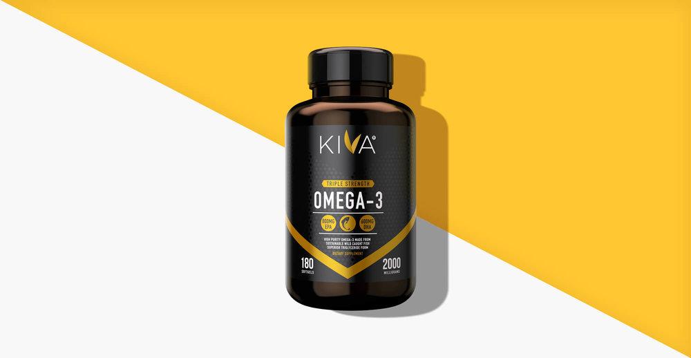 Kiva Health Branding and Packaging Design - yellow render of pack