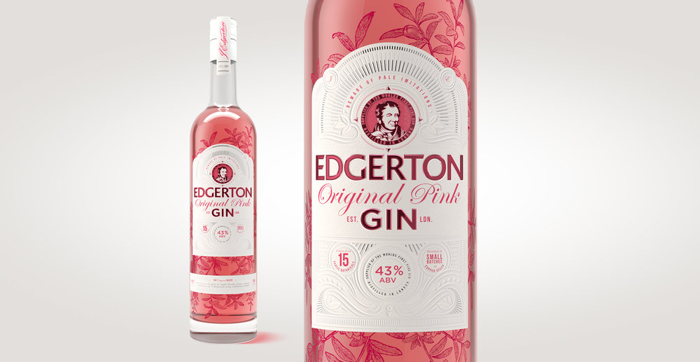 Brand identity and gin bottle label design for Edgerton Gin by Design Happy London - Screen printed gin pack design