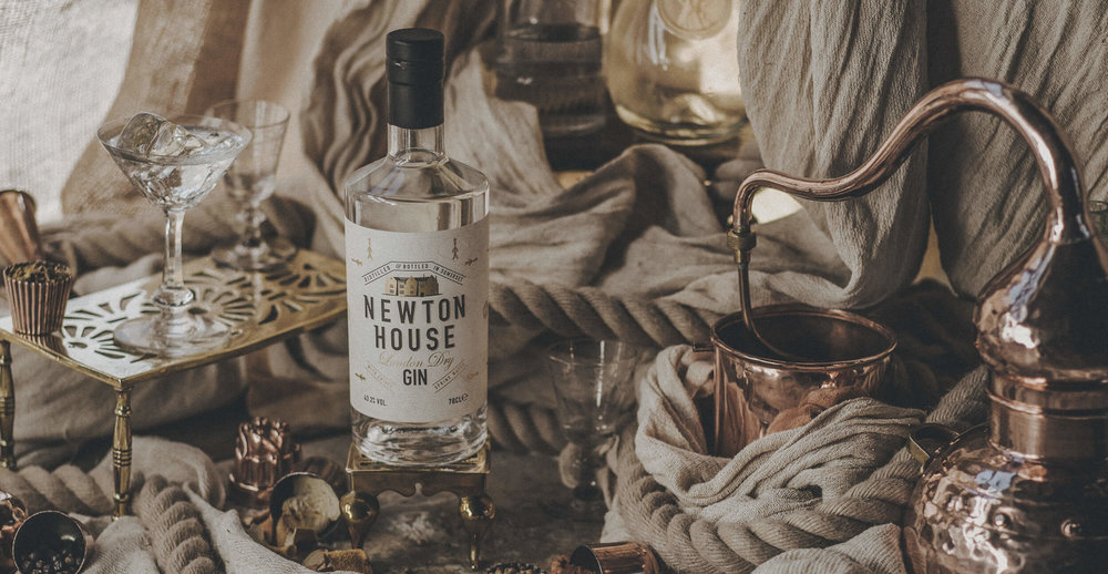 Newton House Gin Branding and Packaging Design Photography, faded film