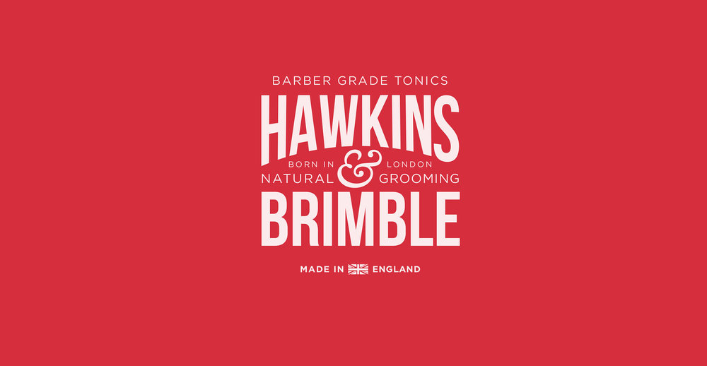 Branding and packaging design for male grooming brand Hawkins and Brimble by Design Happy London - Logo and master brand identity