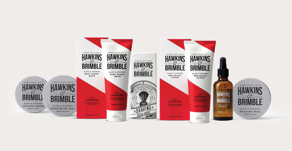 Branding and packaging design for male grooming brand Hawkins and Brimble by Design Happy London - Full range